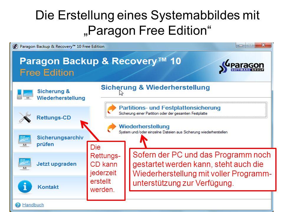 """Die Erstellung eines Systemabbildes mit """"Paragon Free Edition"""
