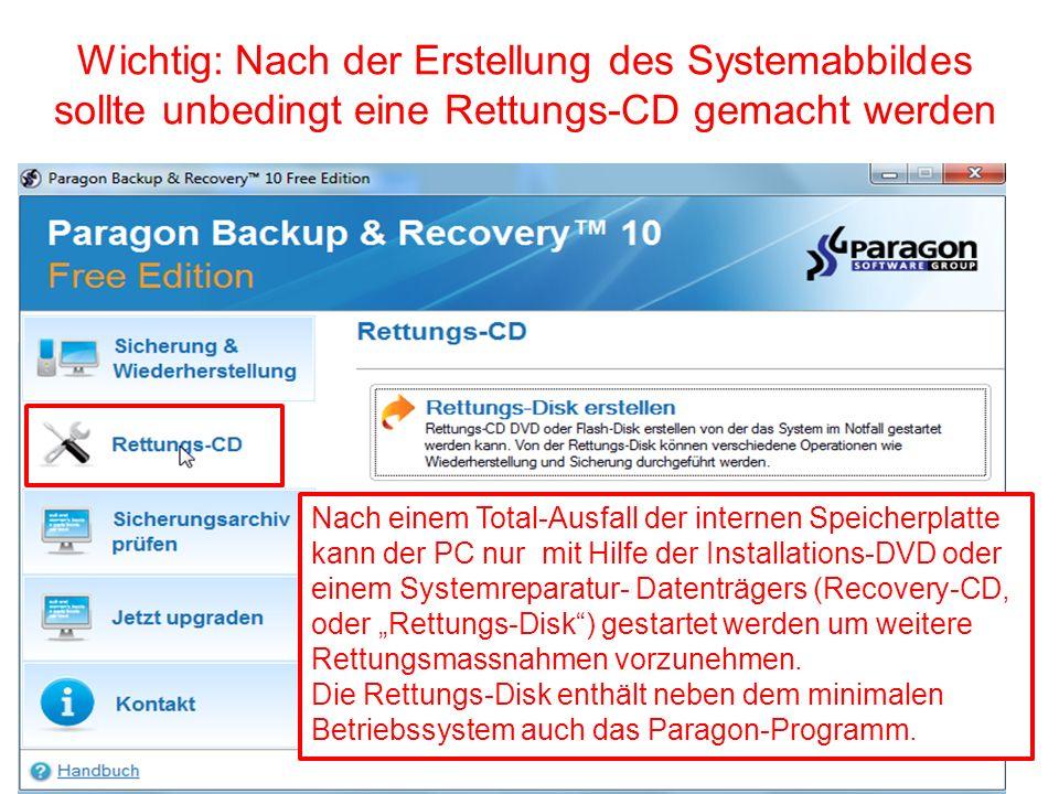 Wichtig: Nach der Erstellung des Systemabbildes sollte unbedingt eine Rettungs-CD gemacht werden