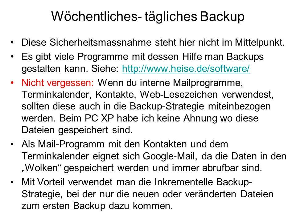 Wöchentliches- tägliches Backup