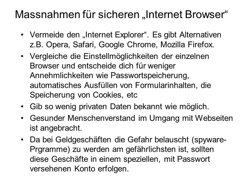 """Massnahmen für sicheren """"Internet Browser"""