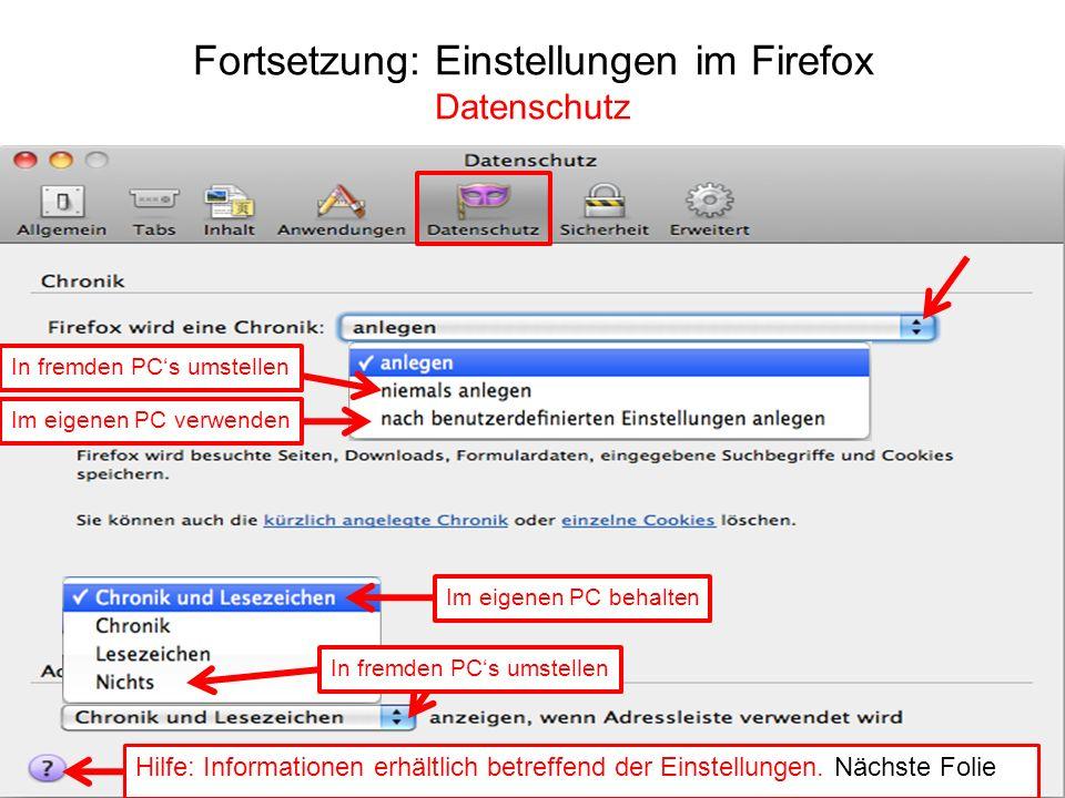Fortsetzung: Einstellungen im Firefox Datenschutz