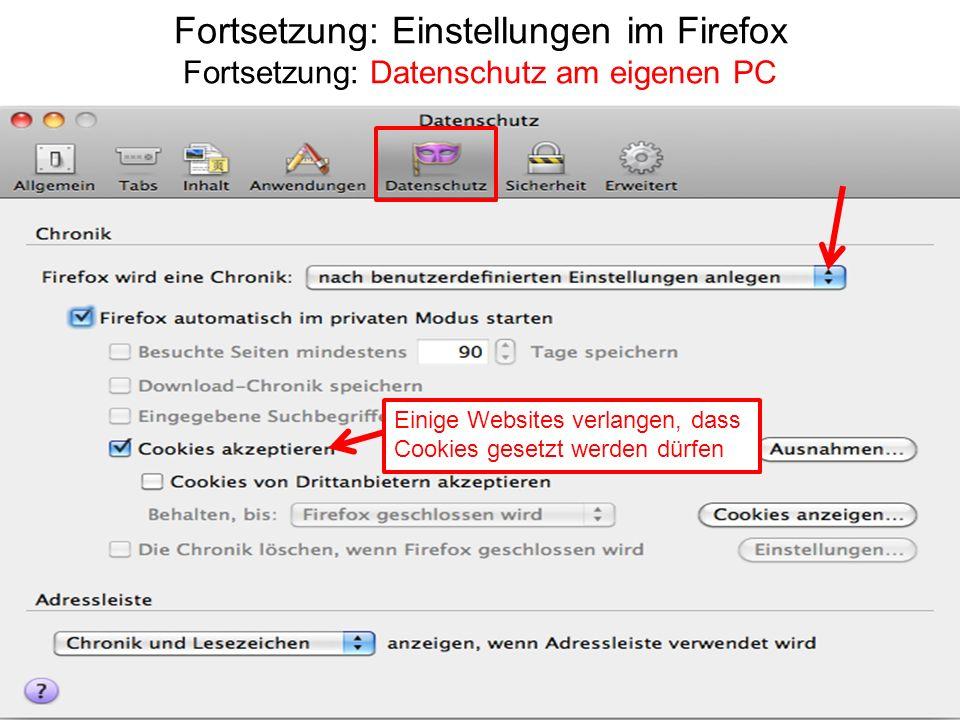 Fortsetzung: Einstellungen im Firefox Fortsetzung: Datenschutz am eigenen PC