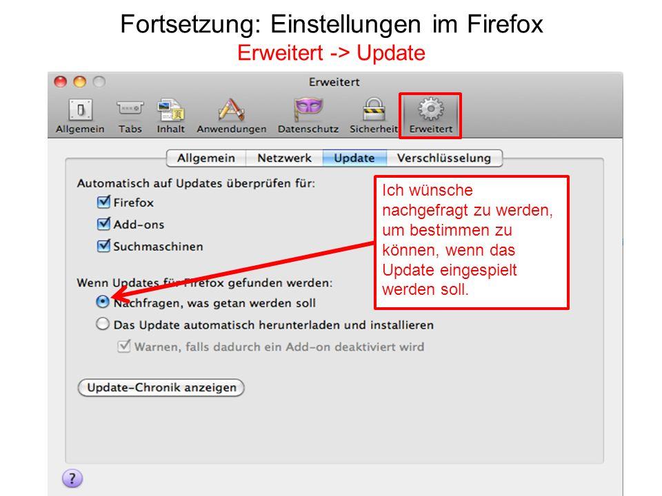 Fortsetzung: Einstellungen im Firefox Erweitert -> Update