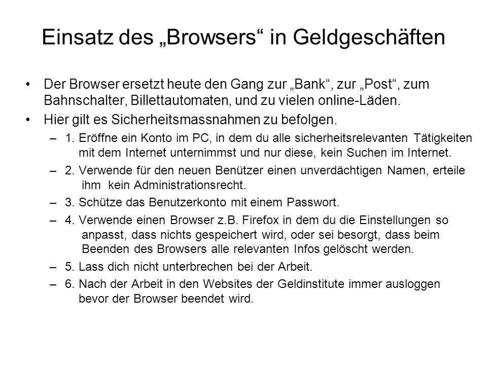 """Einsatz des """"Browsers in Geldgeschäften"""