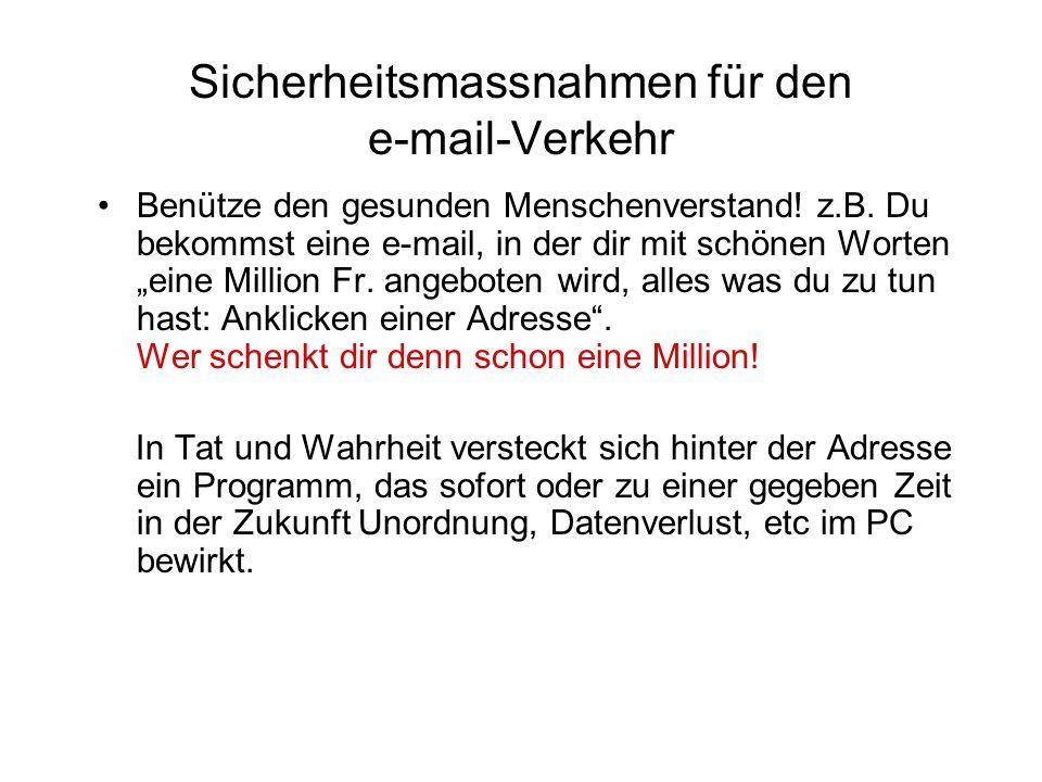 Sicherheitsmassnahmen für den e-mail-Verkehr