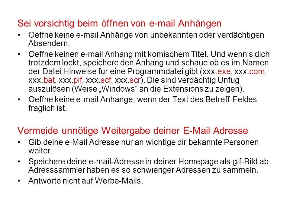 Sei vorsichtig beim öffnen von e-mail Anhängen