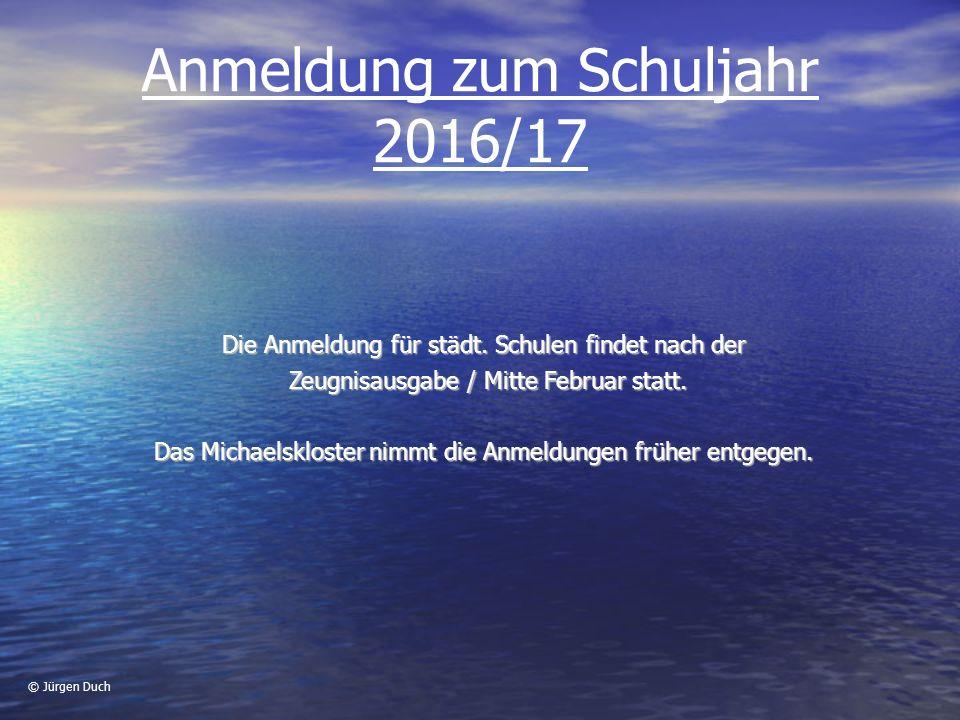 Anmeldung zum Schuljahr 2016/17