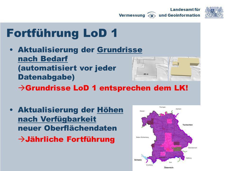 Fortführung LoD 1Aktualisierung der Grundrisse nach Bedarf (automatisiert vor jeder Datenabgabe)
