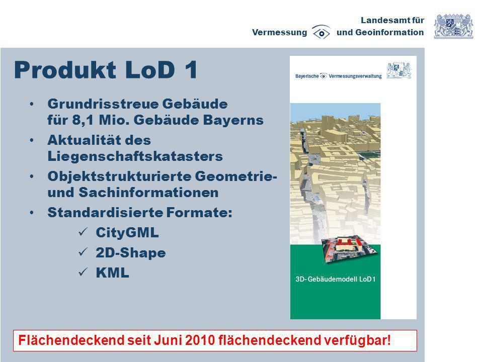 Produkt LoD 1 Grundrisstreue Gebäude für 8,1 Mio. Gebäude Bayerns