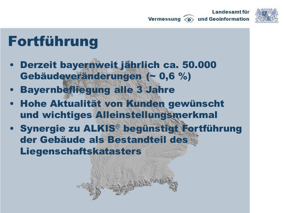 Fortführung Derzeit bayernweit jährlich ca. 50.000 Gebäudeveränderungen (~ 0,6 %) Bayernbefliegung alle 3 Jahre.