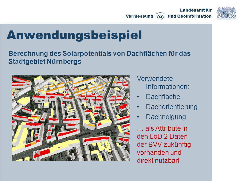 AnwendungsbeispielBerechnung des Solarpotentials von Dachflächen für das Stadtgebiet Nürnbergs. Verwendete Informationen: