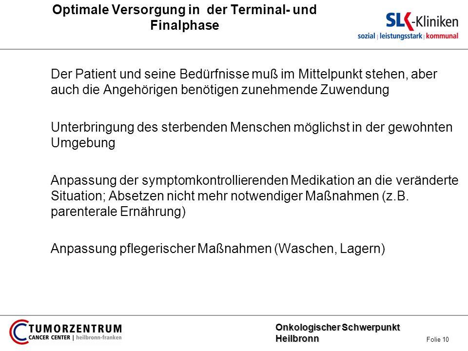 Optimale Versorgung in der Terminal- und Finalphase