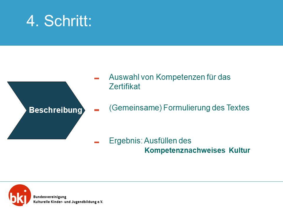 4. Schritt: Auswahl von Kompetenzen für das Zertifikat