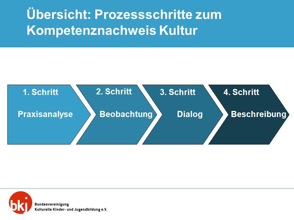 Übersicht: Prozessschritte zum Kompetenznachweis Kultur