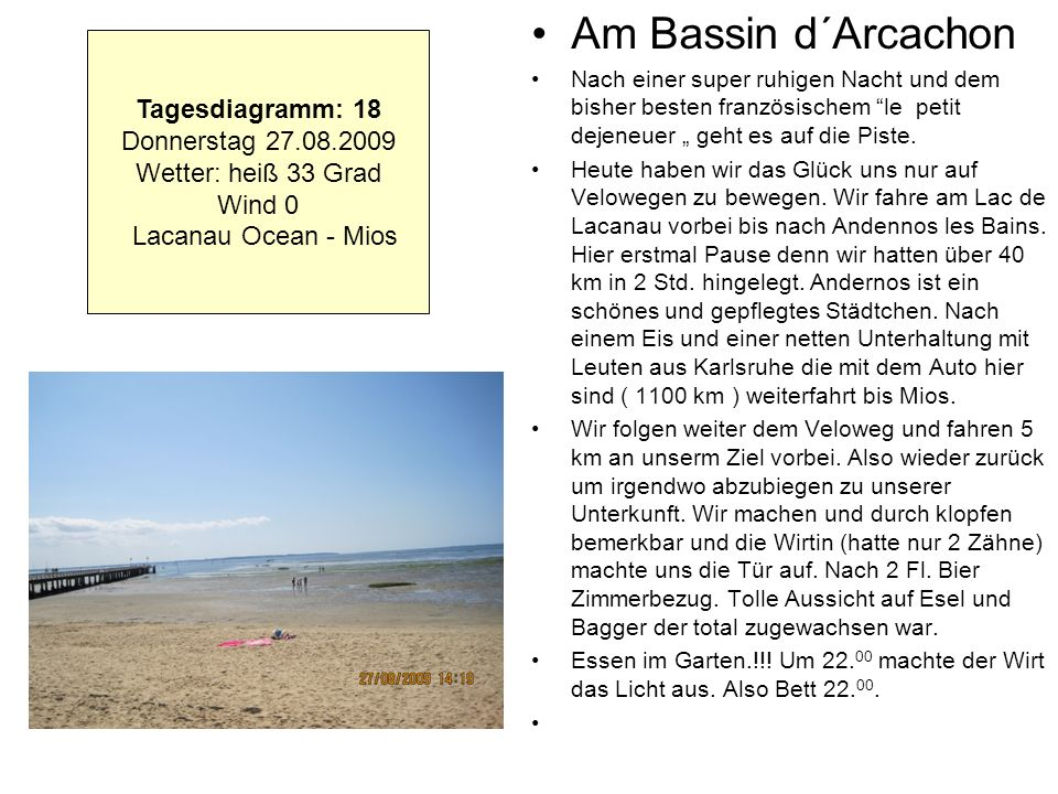 Am Bassin d´Arcachon Tagesdiagramm: 18 Donnerstag