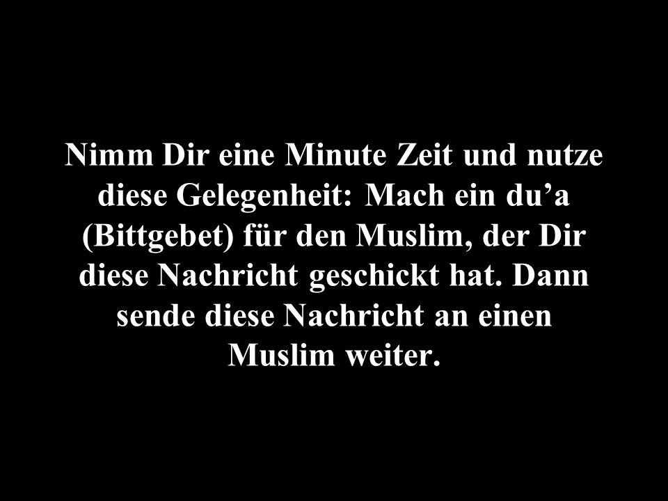 Nimm Dir eine Minute Zeit und nutze diese Gelegenheit: Mach ein du'a (Bittgebet) für den Muslim, der Dir diese Nachricht geschickt hat.