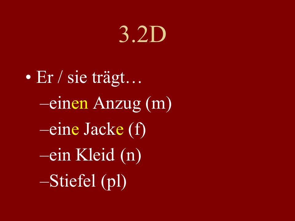 3.2D Er / sie trägt… einen Anzug (m) eine Jacke (f) ein Kleid (n)
