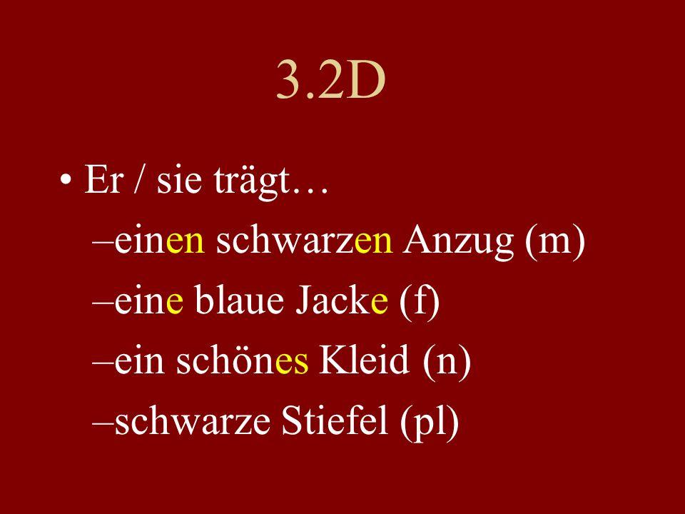 3.2D Er / sie trägt… einen schwarzen Anzug (m) eine blaue Jacke (f)