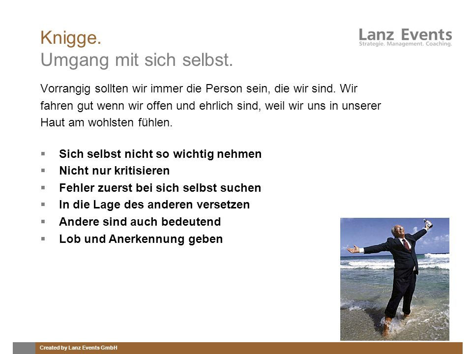 Knigge. Umgang mit sich selbst.