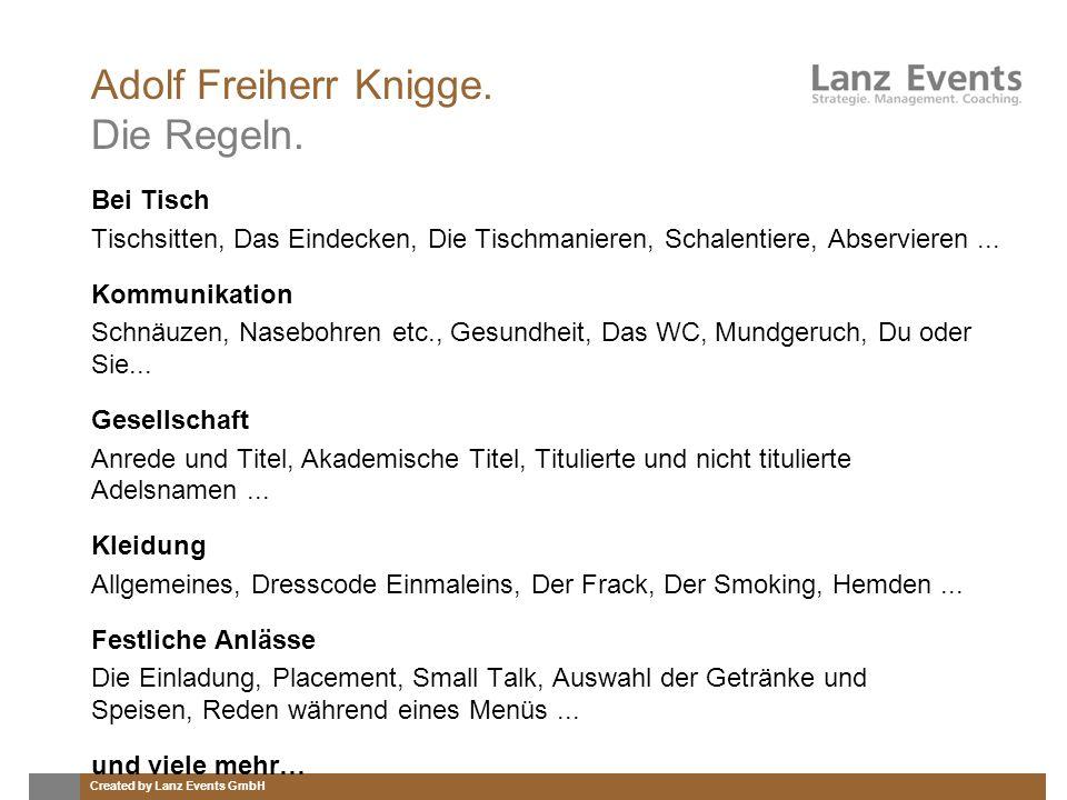 Adolf Freiherr Knigge. Die Regeln.