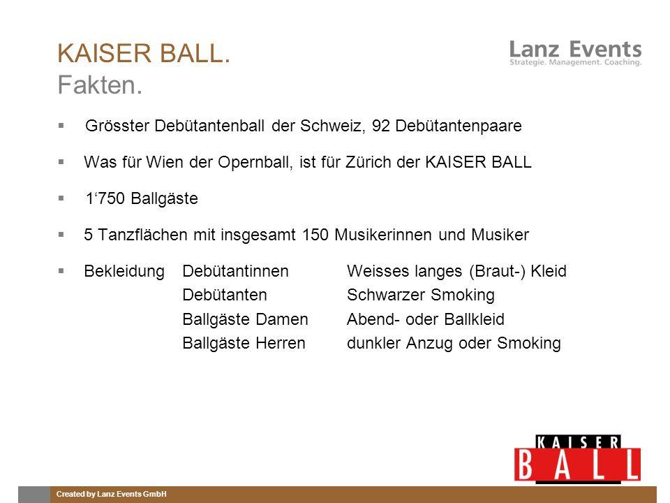 KAISER BALL. Fakten. Grösster Debütantenball der Schweiz, 92 Debütantenpaare. Was für Wien der Opernball, ist für Zürich der KAISER BALL.