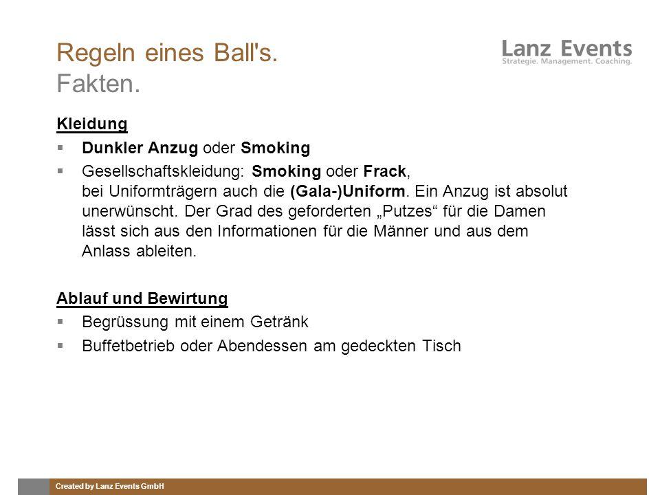Regeln eines Ball s. Fakten.