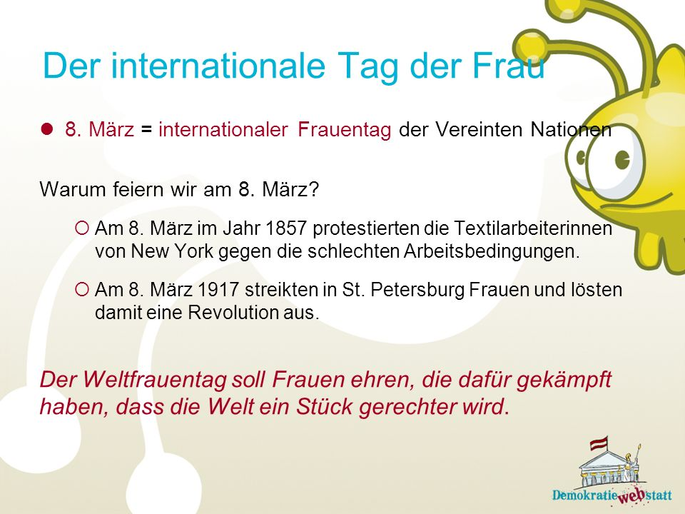 Der internationale Tag der Frau