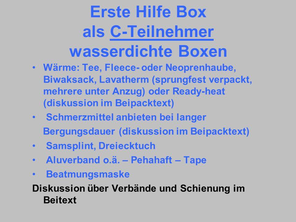 Erste Hilfe Box als C-Teilnehmer wasserdichte Boxen