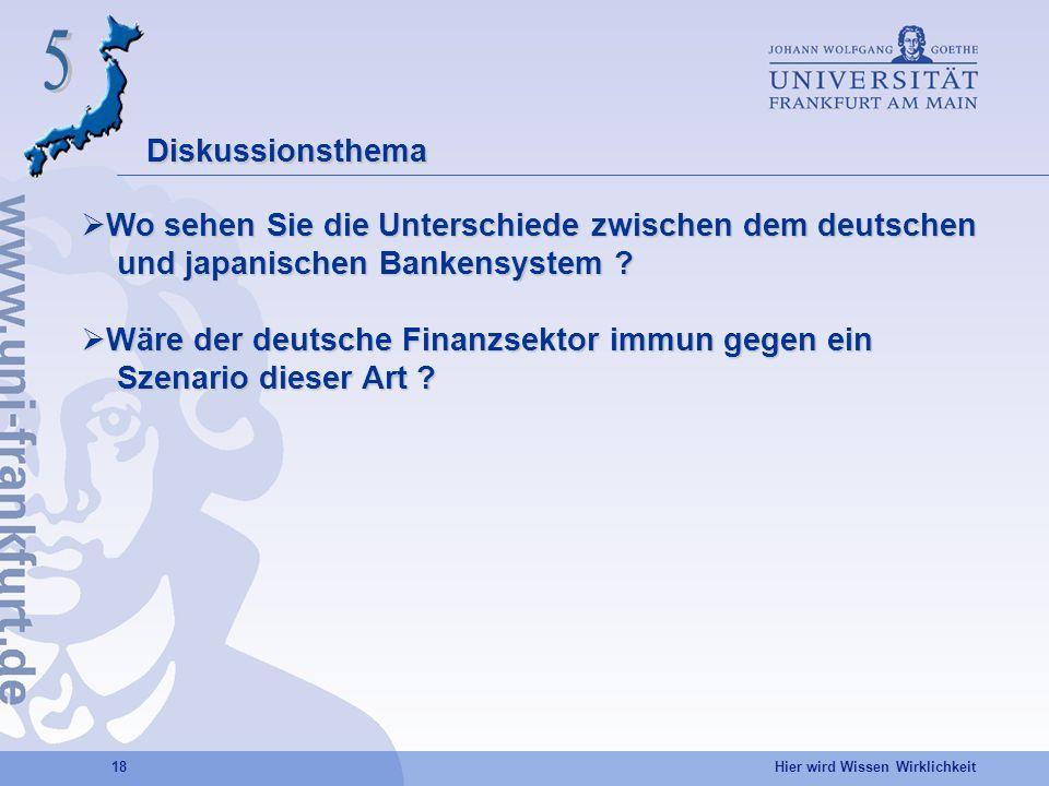 5 Diskussionsthema. Wo sehen Sie die Unterschiede zwischen dem deutschen. und japanischen Bankensystem