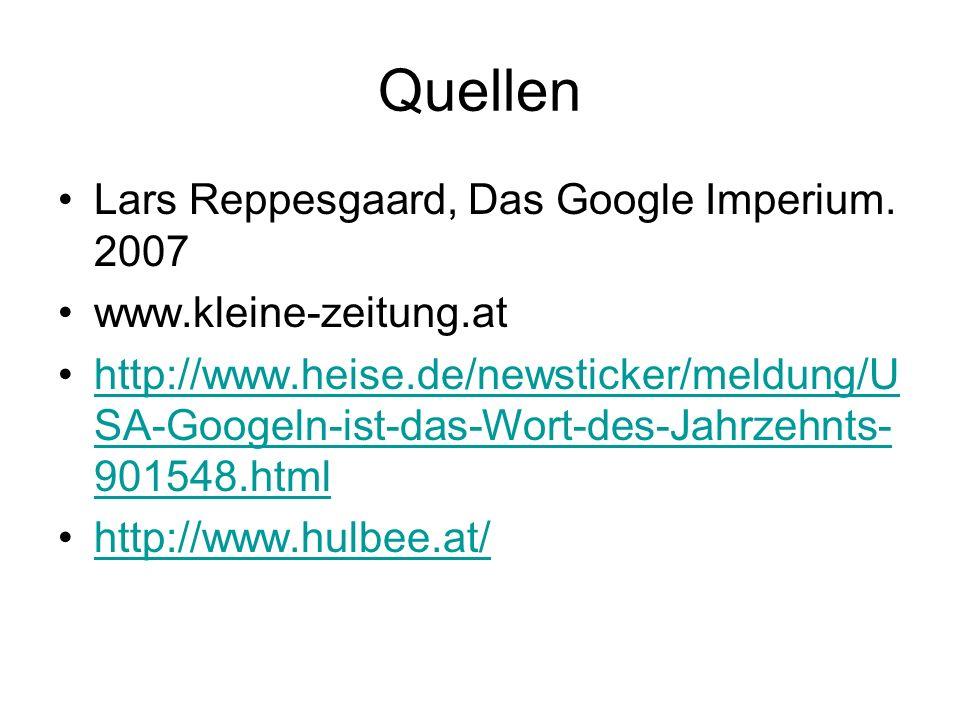 Quellen Lars Reppesgaard, Das Google Imperium. 2007