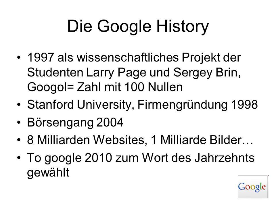 Die Google History 1997 als wissenschaftliches Projekt der Studenten Larry Page und Sergey Brin, Googol= Zahl mit 100 Nullen.