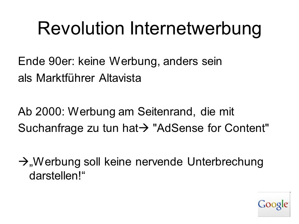 Revolution Internetwerbung