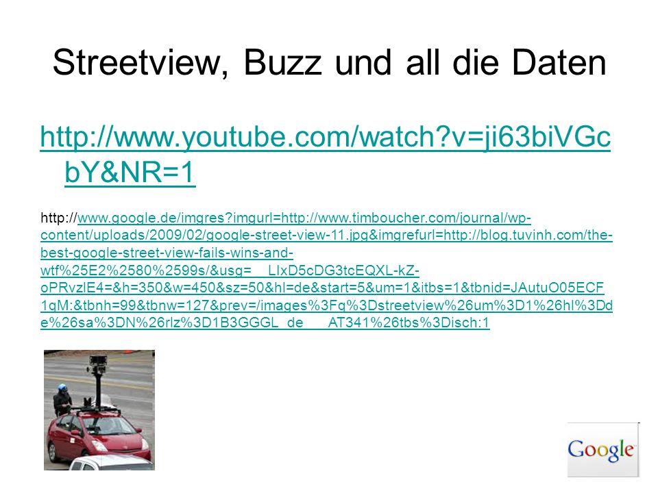 Streetview, Buzz und all die Daten