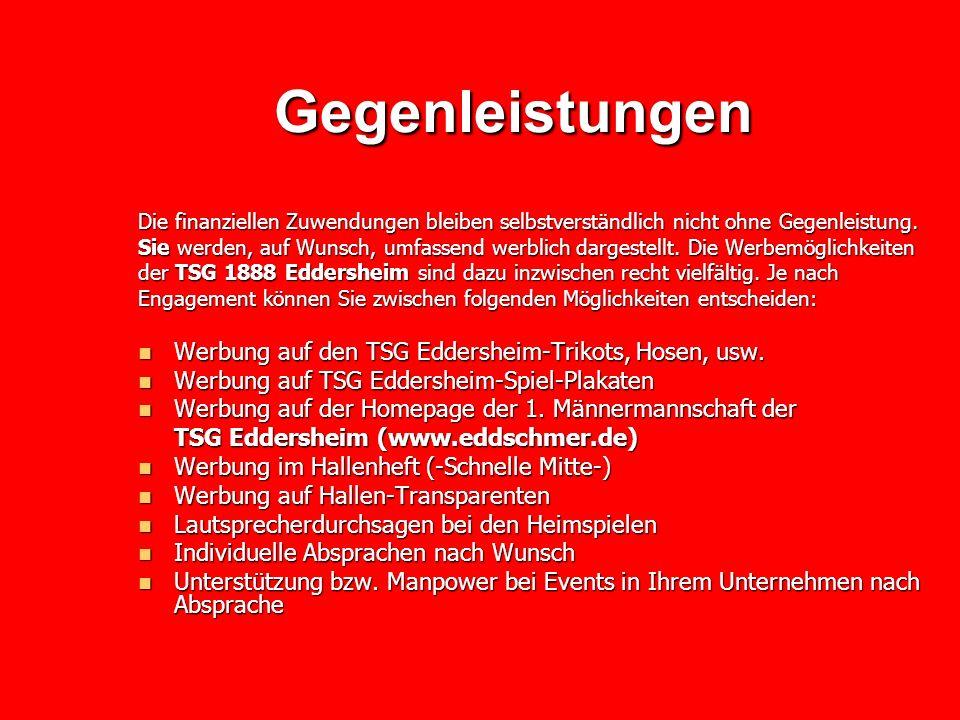 Gegenleistungen Werbung auf den TSG Eddersheim-Trikots, Hosen, usw.