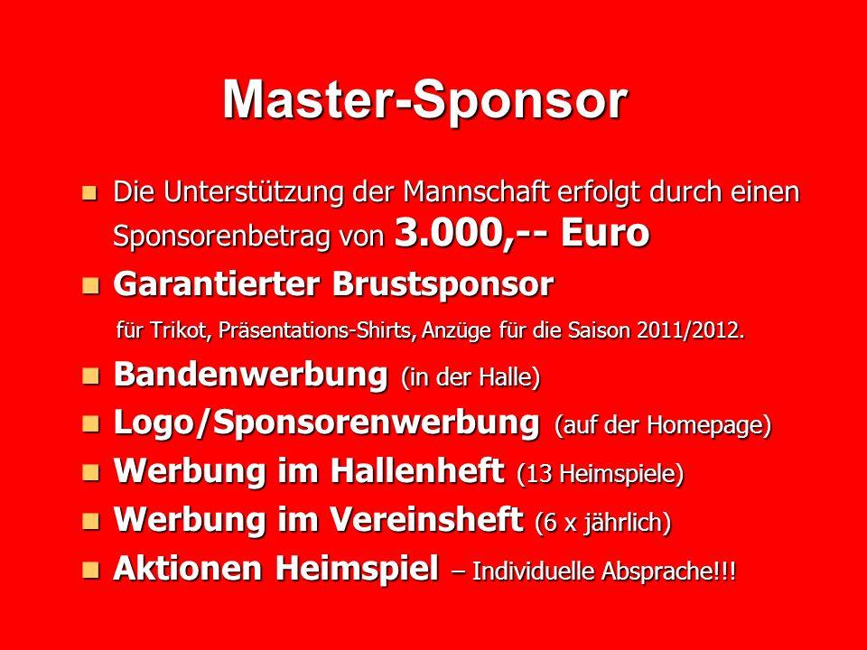Master-Sponsor Garantierter Brustsponsor Bandenwerbung (in der Halle)