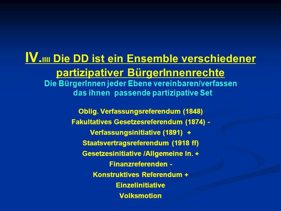 IV.IIII Die DD ist ein Ensemble verschiedener partizipativer BürgerInnenrechte Die BürgerInnen jeder Ebene vereinbaren/verfassen das ihnen passende partizipative Set