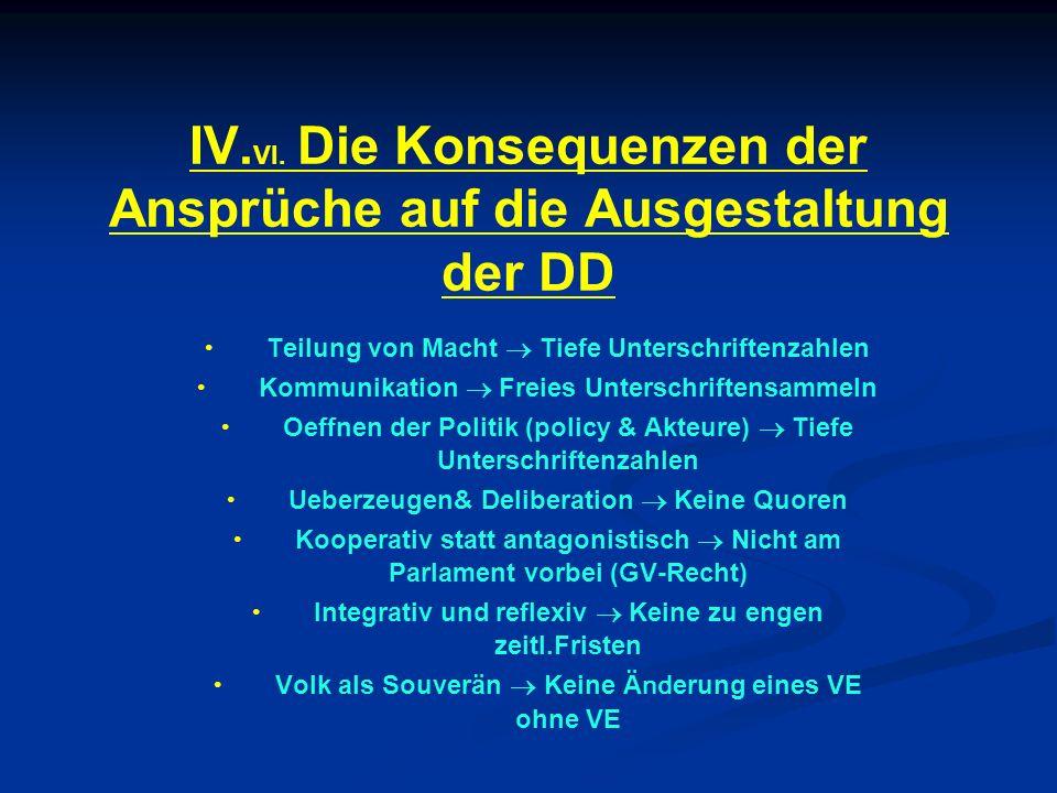 IV.VI. Die Konsequenzen der Ansprüche auf die Ausgestaltung der DD