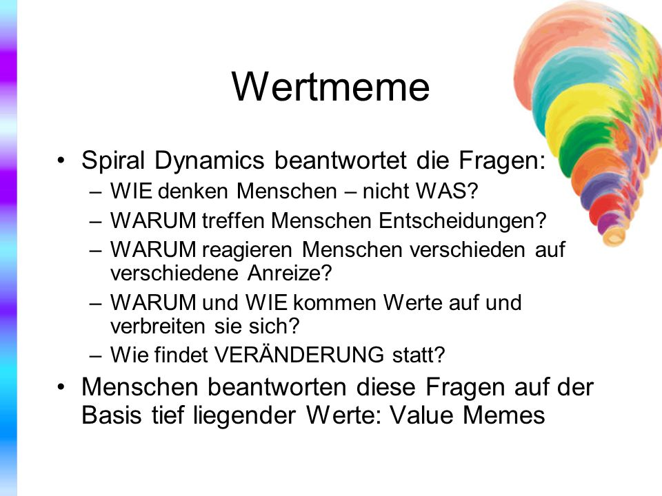 Wertmeme Spiral Dynamics beantwortet die Fragen: