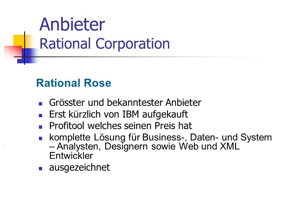 Anbieter Rational Corporation