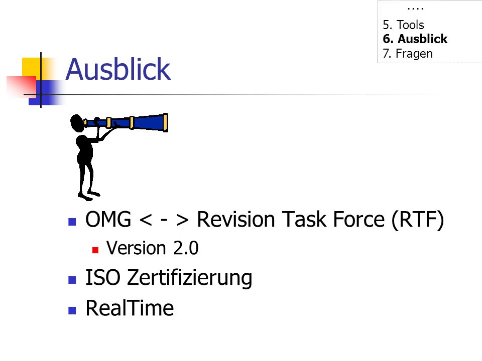 Ausblick OMG < - > Revision Task Force (RTF) ISO Zertifizierung