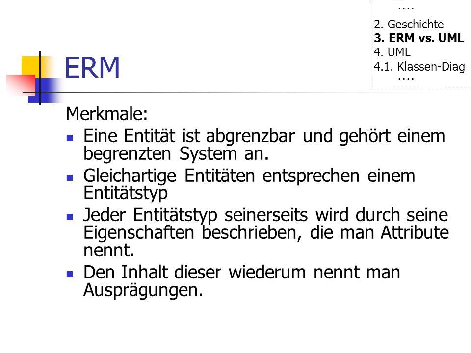 ···· 2. Geschichte. 3. ERM vs. UML. 4. UML. 4.1. Klassen-Diag. ERM. Merkmale: