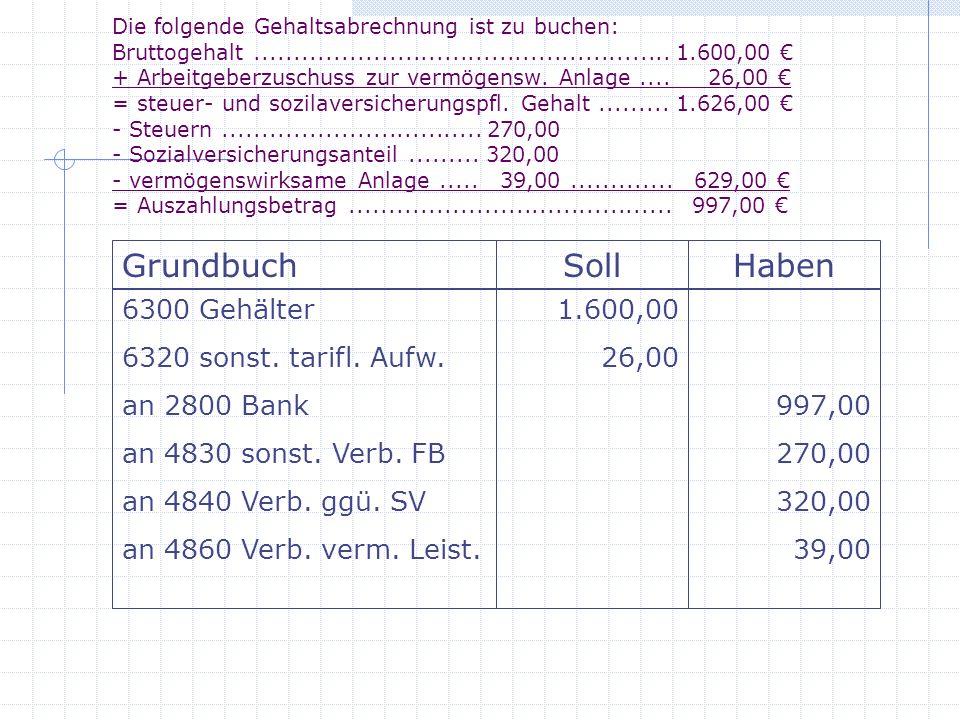 Grundbuch Soll Haben 6300 Gehälter 6320 sonst. tarifl. Aufw.
