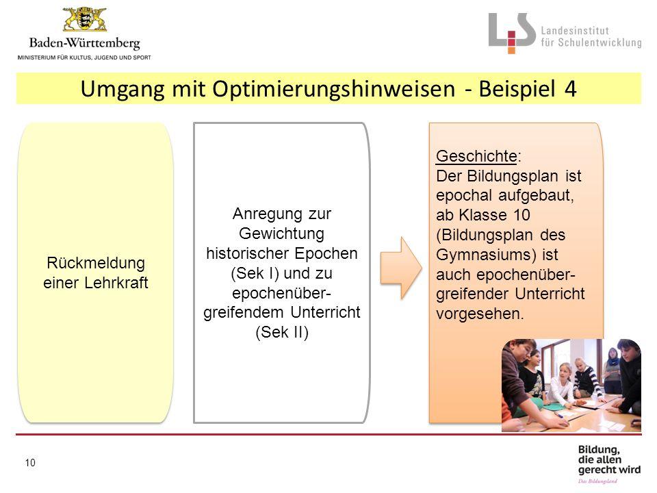 Umgang mit Optimierungshinweisen - Beispiel 4