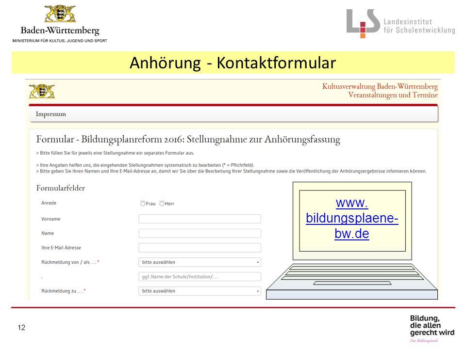 Anhörung - Kontaktformular