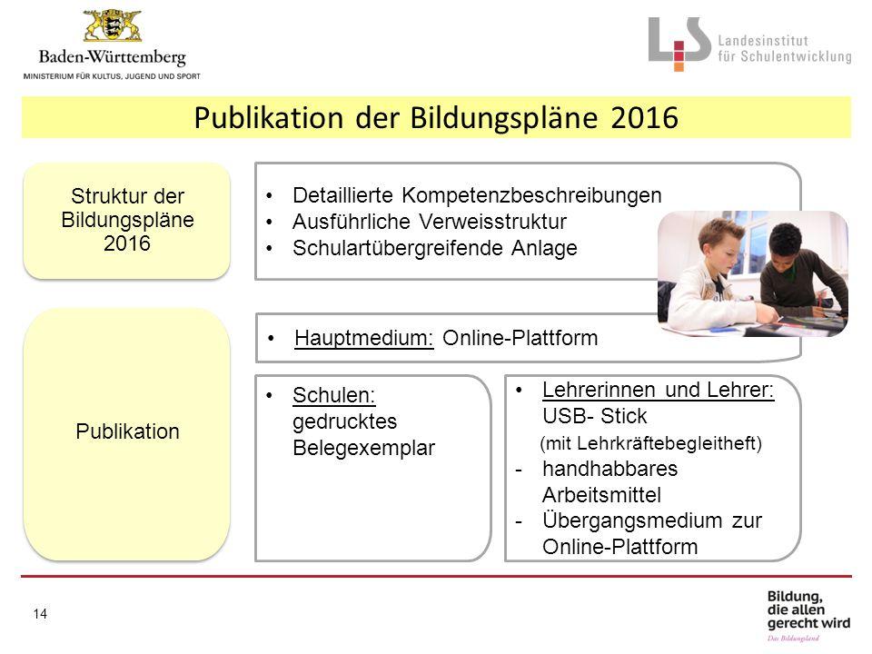 Publikation der Bildungspläne 2016