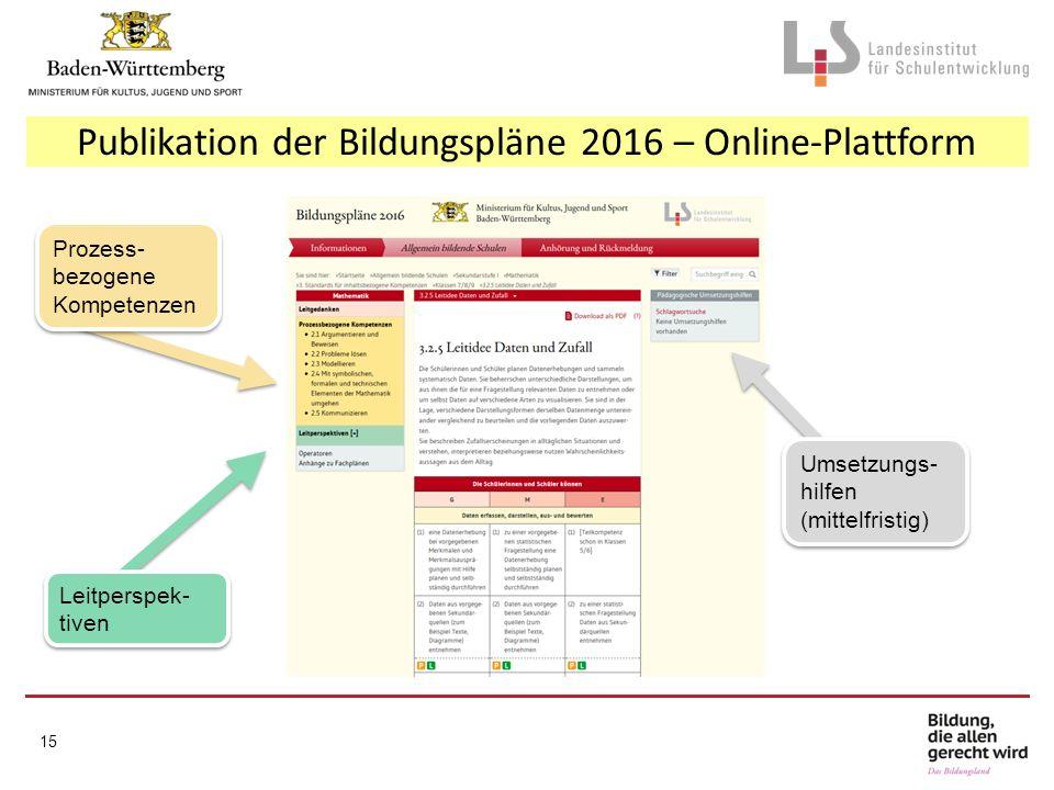 Publikation der Bildungspläne 2016 – Online-Plattform