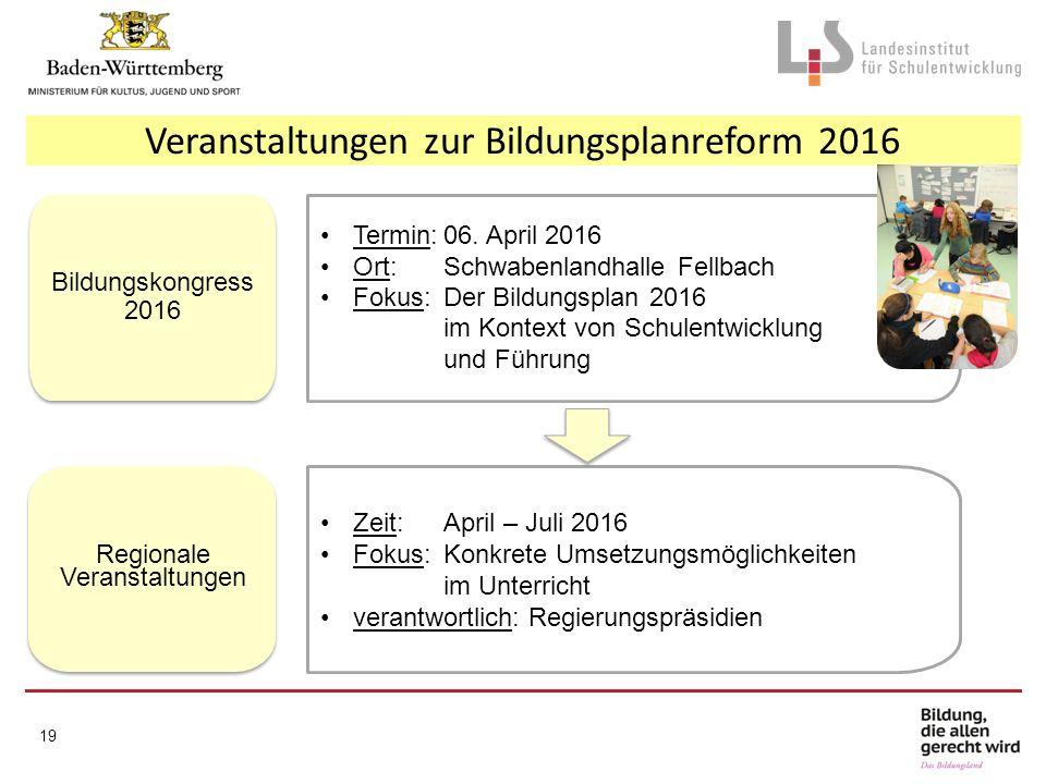 Veranstaltungen zur Bildungsplanreform 2016