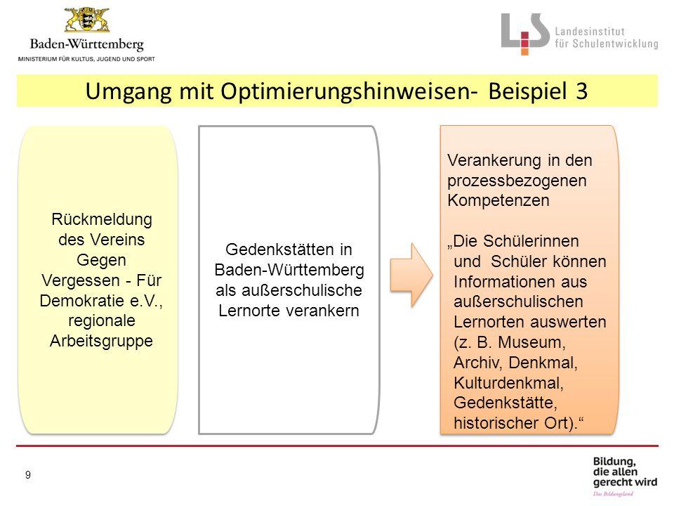 Umgang mit Optimierungshinweisen- Beispiel 3