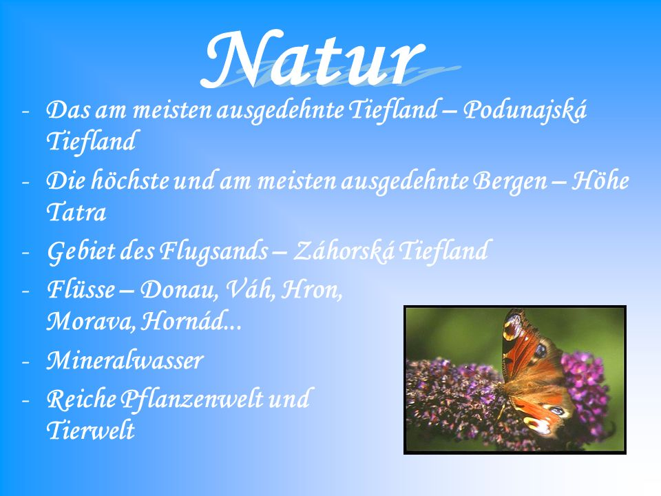 Natur Das am meisten ausgedehnte Tiefland – Podunajská Tiefland