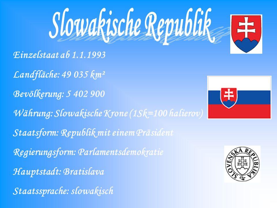 Slowakische Republik Landfläche: 49 035 km² Bevölkerung: 5 402 900